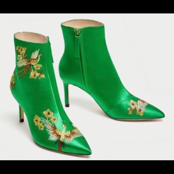 b45627da657 ZARA embroidered green satin high heels 40 9!NWT